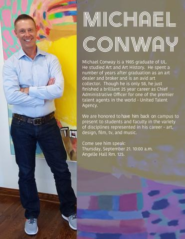 Michael Conway speaking at Angelle Hall poster
